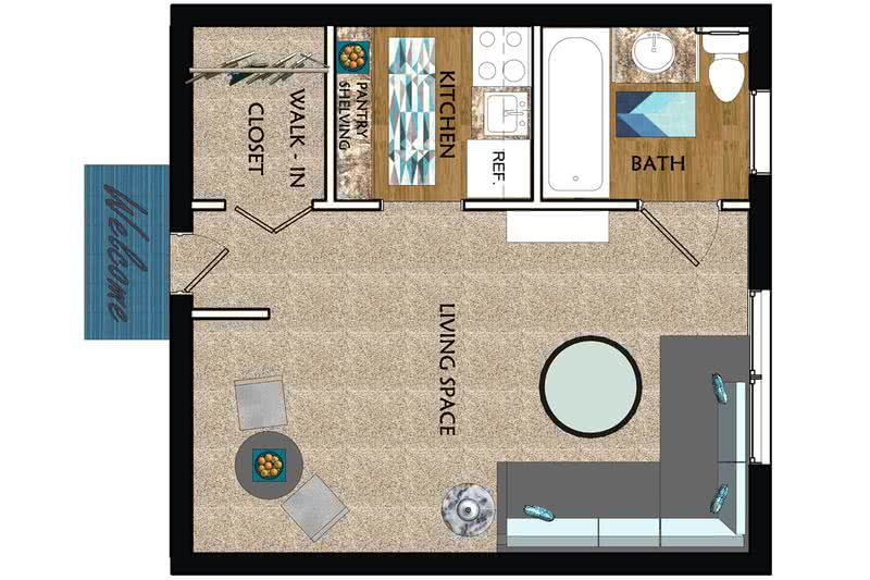 2D | The Classic is a studio with 325 square feet of living space.