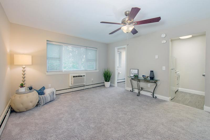 Spacious Floor Plans | Our spacious studios will give you plenty of room to live comfortably. Living area features a ceiling fan and plush carpeting.