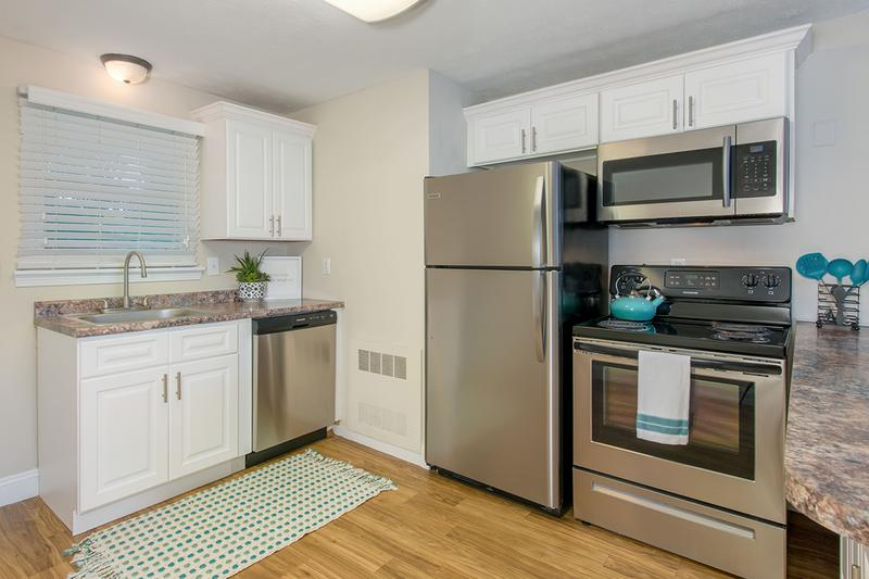 Stainless Steel Appliances | You will enjoy our newly remodeled apartment homes featuring wood-style flooring, granite-style countertops, and stainless steel appliances.