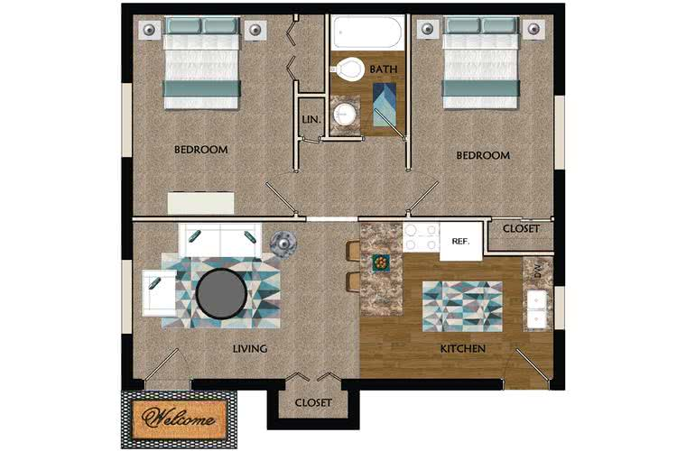 2D | The Adler contains 2 bedrooms and 1 bathrooms in 700 square feet of living space.