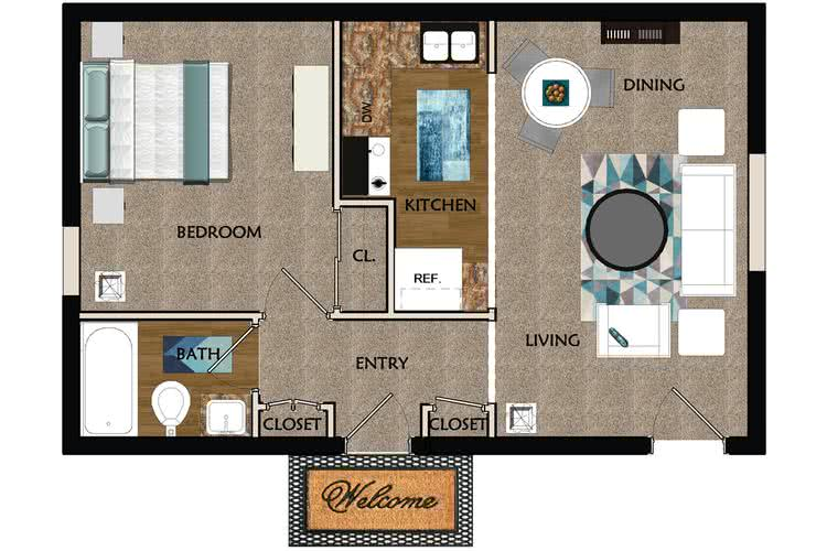 2D | The Willow contains 1 bedroom and 1 bathroom in 500 square feet of living space.