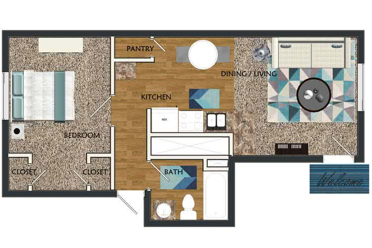 2D | The Sunrise contains 1 bedroom and 1 bathroom in 525 square feet of living space.