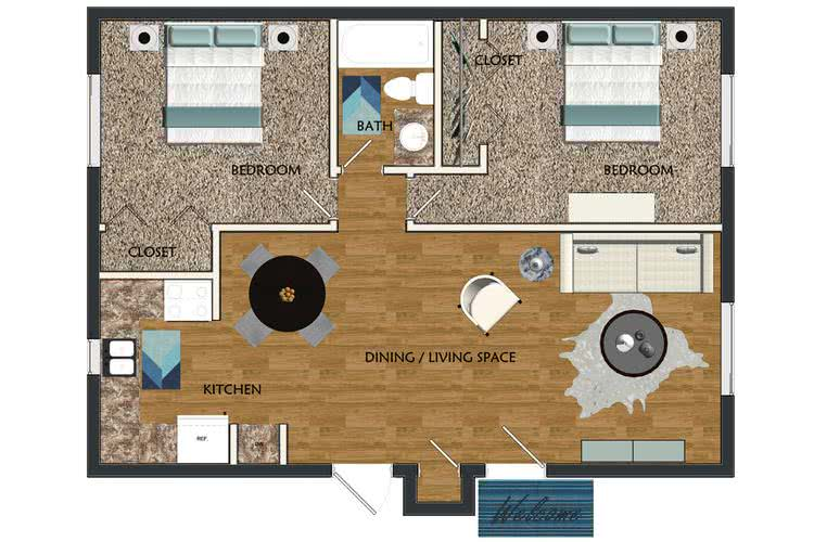 2D | The Sunset contains 2 bedrooms and 1 bathrooms in 750 square feet of living space.