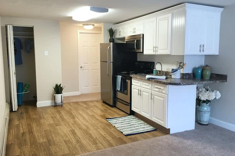 1x1 Remodeled Kitchen | Newly remodeled kitchen in our Sunrise floor plan featuring granite-style countertops, wood-style flooring, and ample cabinet space.