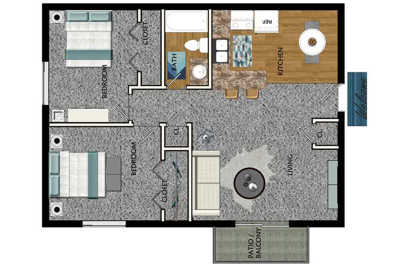 2D | The Colonial contains 2 bedrooms and 1 bathrooms in 750 square feet of living space.
