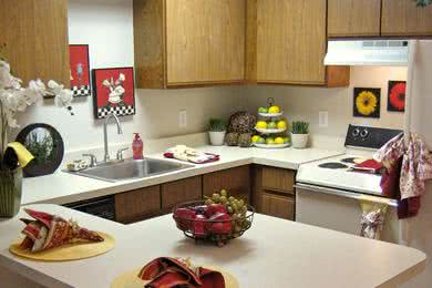 Basic Kitchen | Our basic kitchens feature wood-style flooring and a breakfast bar.