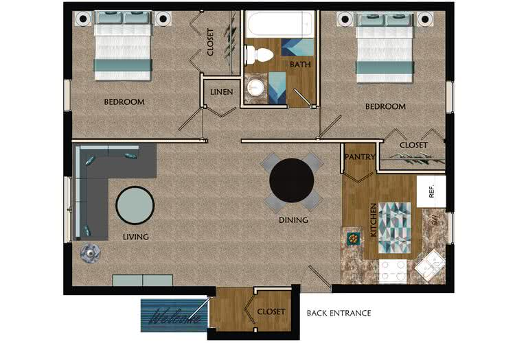 2D | Corporate Floor Plan contains 2 bedrooms and 1 bathrooms in 850 square feet of living space.
