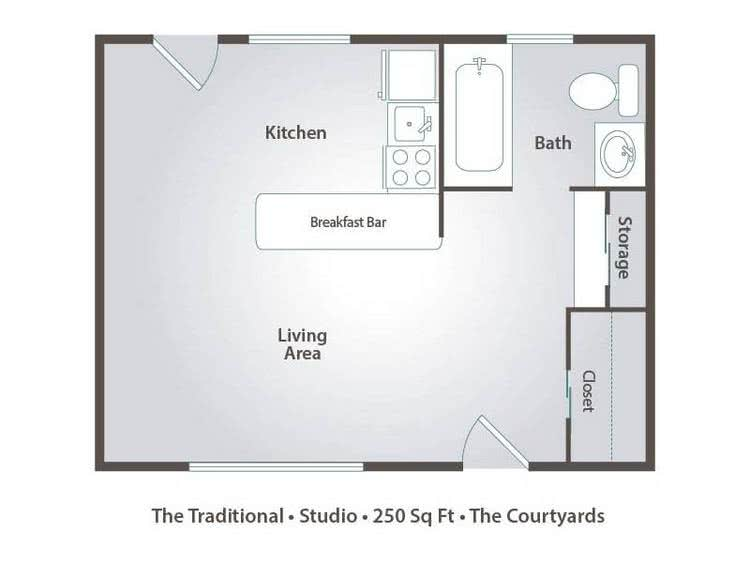2D | The Traditional is a studio with 250 square feet of living space.