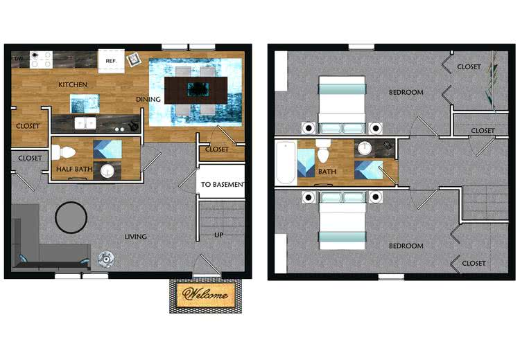 2D | The Sycamore contains 2 bedrooms and 1.5 bathrooms in 1250 square feet of living space.