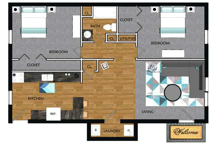 2D | The Woodcrest contains 2 bedrooms and 1 bathrooms in 880 square feet of living space.