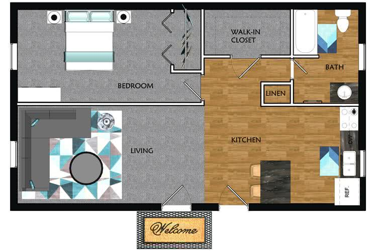 2D | The Woodhaven contains 1 bedroom and 1 bathroom in 726 square feet of living space.