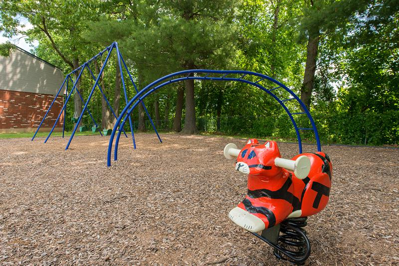 Playground | Our playground features a swing set, jungle gym and more!