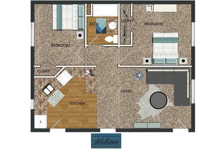 2D | The Valley contains 2 bedrooms and 1 bathrooms in 775 square feet of living space.