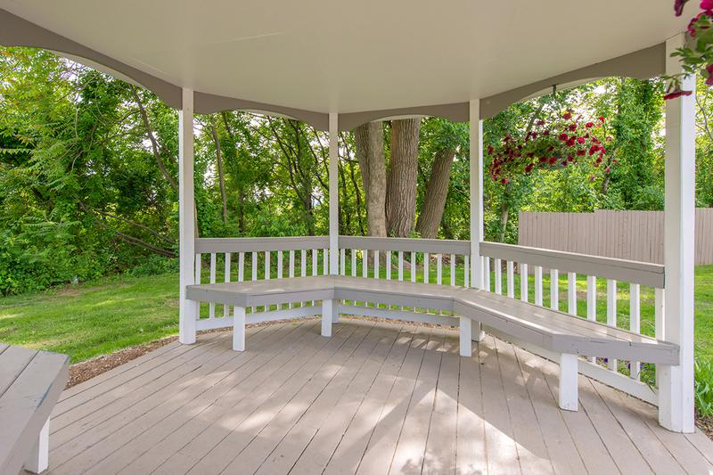 Gazebo Seating | Relax in the shade under our gazebo.