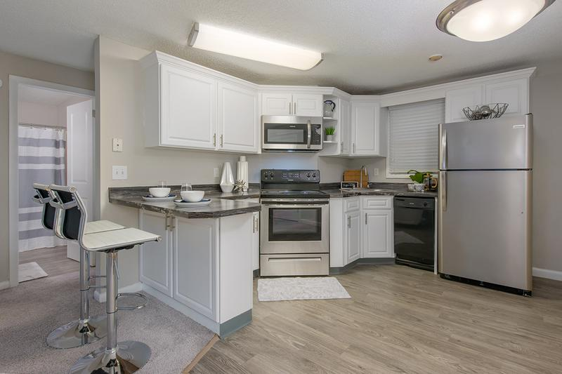 Stainless Steel Appliances | Updated kitchens with stainless steel appliances are available.