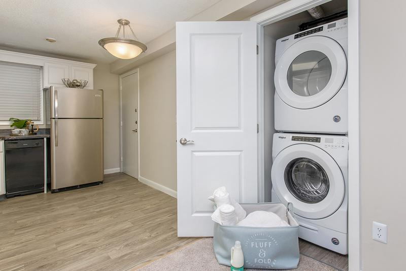 Washer & Dryer | Full size, stackable washer and dryer appliances included in select apartment homes.