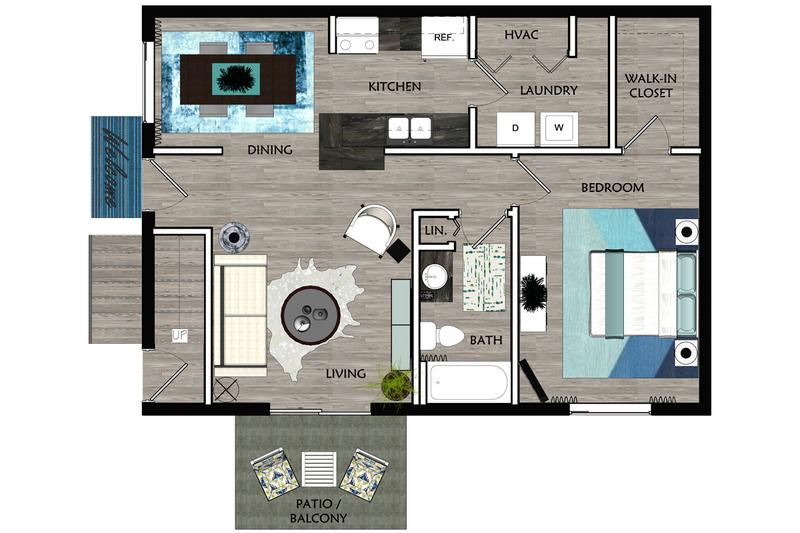 2D |  The Arcadia contains 1 bedroom and 1 bathroom in 850 square feet of living space.