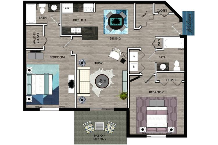 2D |  The Bella contains 2 bedrooms and 2 bathrooms in 1040 square feet of living space.