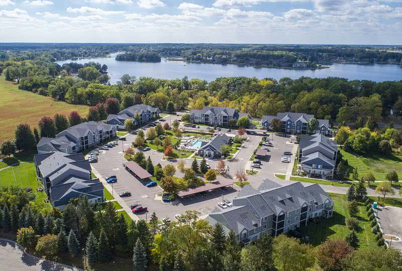 Aerial View of Community | Pier 38 is located right next to Silver Lake in Fenton, MI.