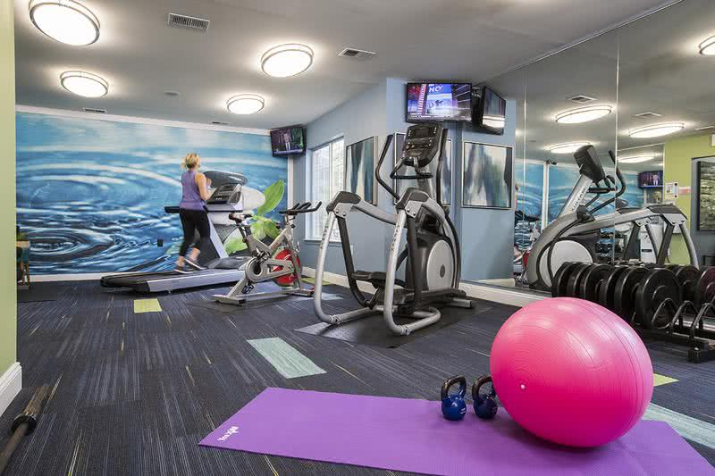 24-Hour Fitness Center | Our fitness center includes all of the weight training and cardio equipment you need for a full body workout.