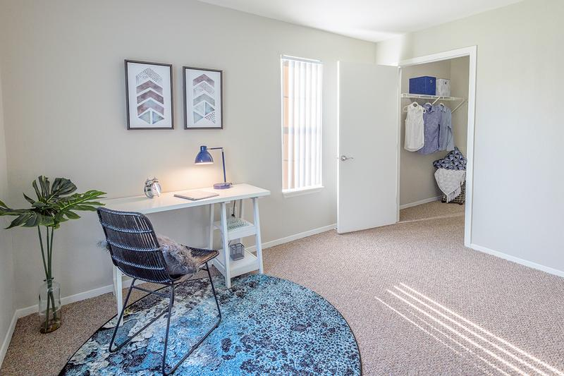 Bedroom | Spacious bedrooms with large closets featuring built-in organizers.
