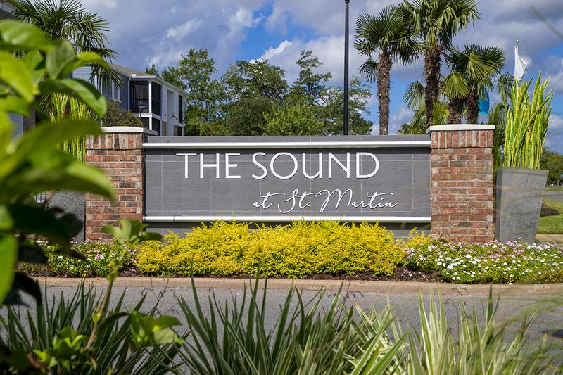 "Front Sign | Welcome home to The Sound at St. Martin where you can luxury living in the ""Playground of the South""!"