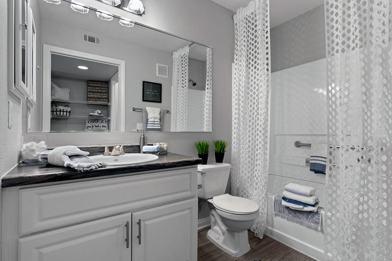 Bathroom | Updated bathrooms with black fusion counter tops and large mirrors available.