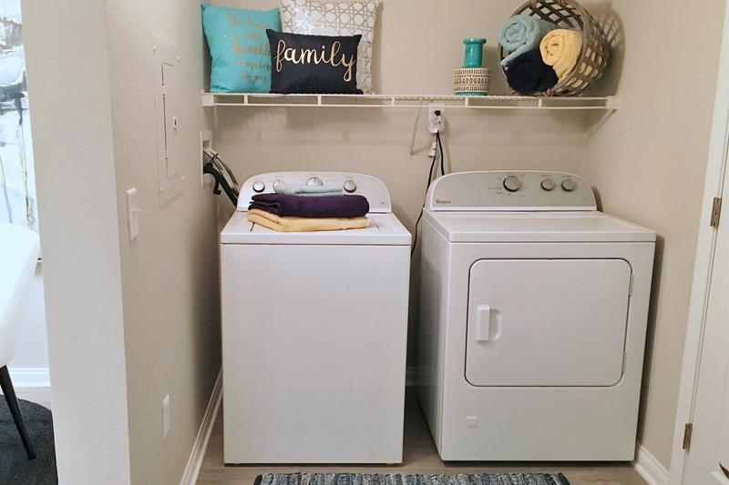 Laundry Room | Here at Millennium East, we are ALL about convenience for our residents! Each apartment comes equipped with a FULL size washer/dryer for all your laundry needs!