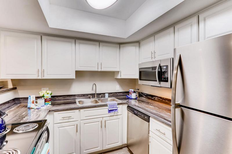 Stainless Steel Appliances | Our newly remodeled apartment homes feature stainless steel appliances and black fusion counter tops.