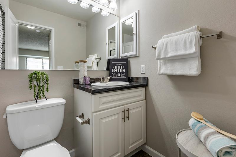 Bathroom | Newly remodeled bathrooms featuring granite-style counters, wood-style flooring, and a large mirror.