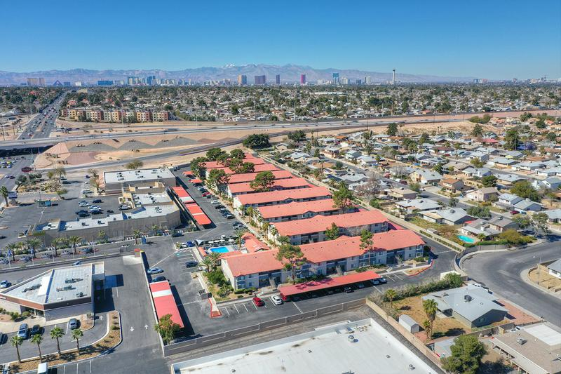 Aerial View of Community | Welcome to V Lane Apartments, tucked away in the center of Paradise.