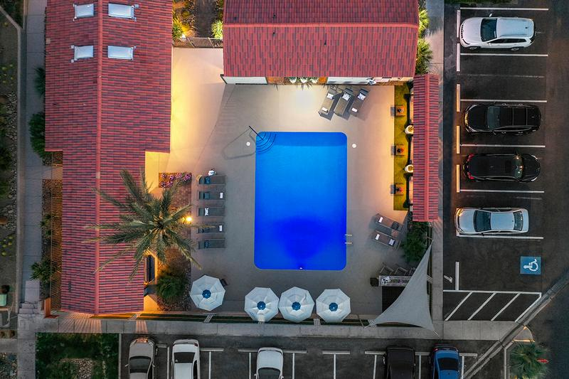 Aerial View of Pool at Night | Enjoy a tranquil, peaceful setting at our pool area at night.