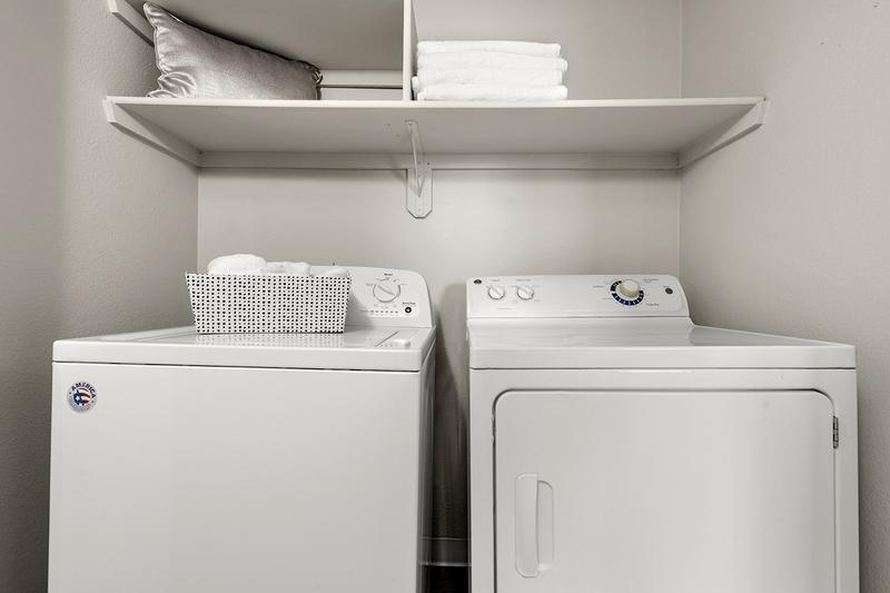 Full Size Washer & Dryer | Full size washer and dryer appliances are included in every apartment home.