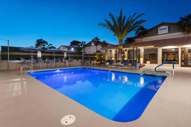 Sparkling Pool at Night | Enjoy a tranquil setting by the pool at night.