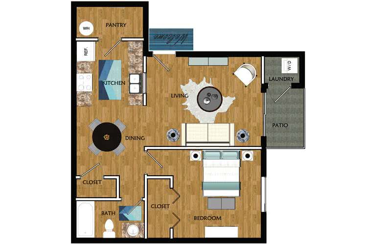 2D |  The Club contains 1 bedroom and 1 bathroom in 704 square feet of living space.