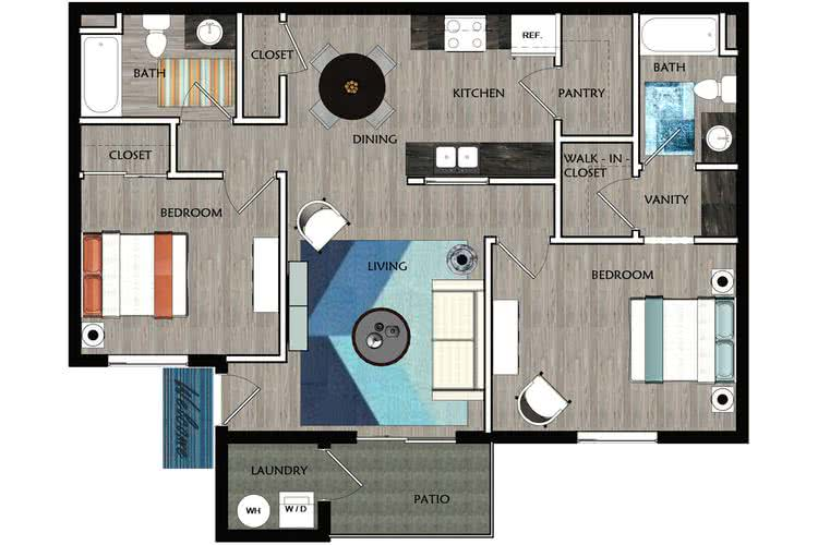 2D |  The Avenue contains 2 bedrooms and 2 bathrooms in 947 square feet of living space.
