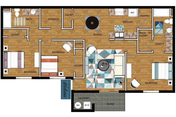 2D |  The Market contains 3 bedrooms and 2 bathrooms in 1182 square feet of living space.