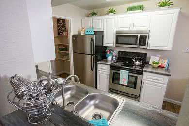 Updated Kitchens | Fully renovated kitchens are also available featuring stainless steel appliances.