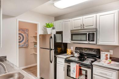Updated Kitchens | Fully renovated kitchens are also available featuring wood-style flooring, stainless steel appliances, and a spacious pantry.