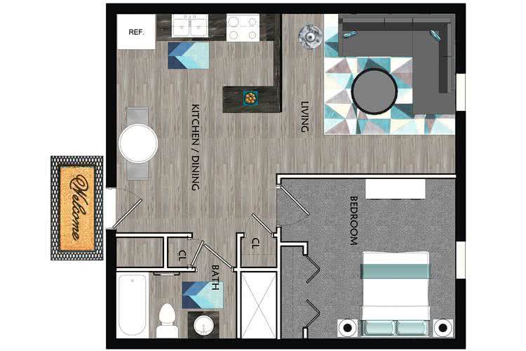 2D | The Hawthorne contains 1 bedroom and 1 bathroom in 625 square feet of living space.
