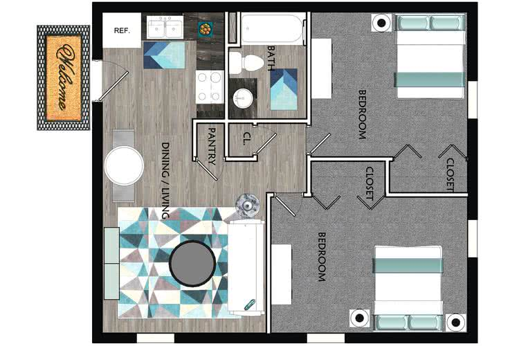 2D | The Laurel contains 2 bedrooms and 1 bathrooms in 650 square feet of living space.