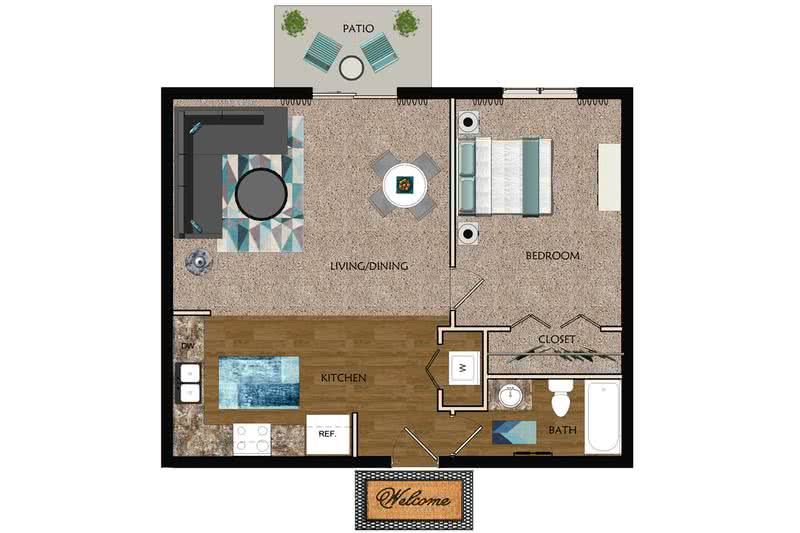 2D | The Cobblestone contains 1 bedroom and 1 bathroom in 700 square feet of living space.