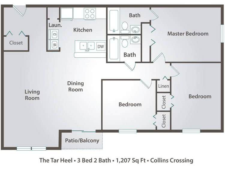 2D | The Tar Heel contains 3 bedrooms and 2 bathrooms in 1207 square feet of living space.