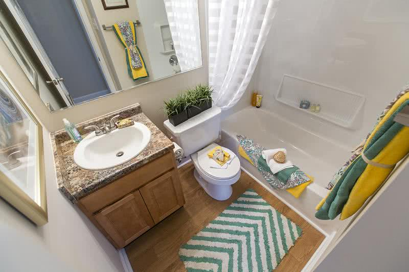 Bathroom | Newly remodeled bathrooms featuring large mirrors, updated countertops and cabinetry.