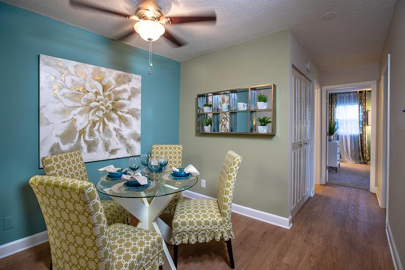 Dining Room | Separate dining area with a ceiling fan.