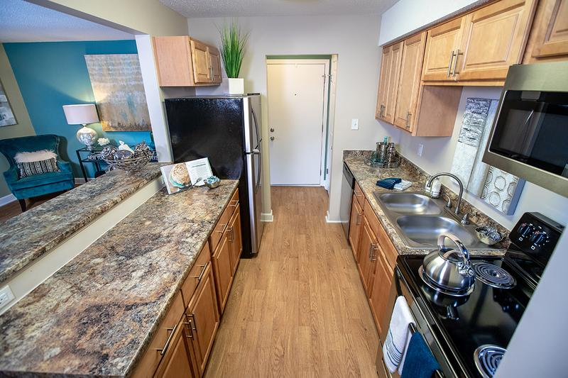 Kitchen | Kitchens are newly remodeled with updated cabinets, countertops and flooring.