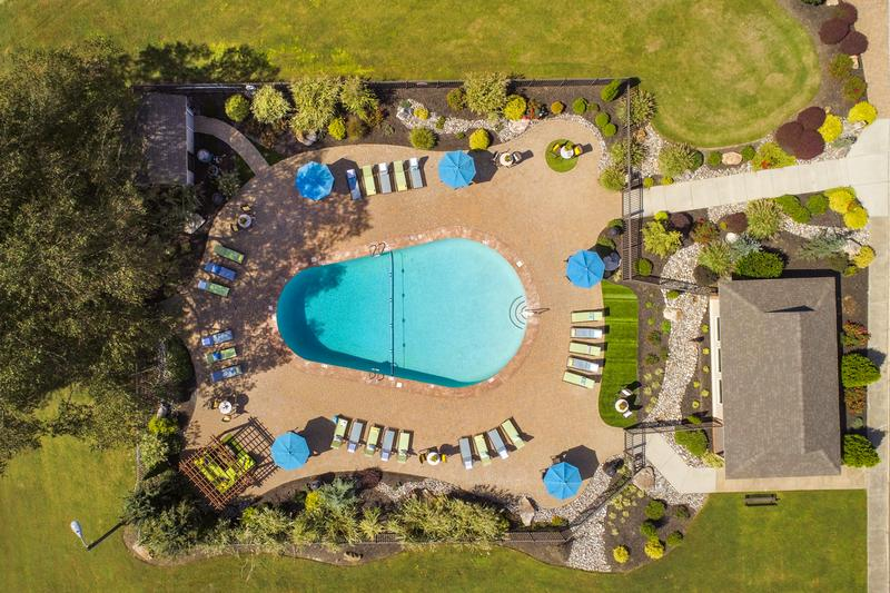 Aerial View of Pool | An aerial view of our pool area.