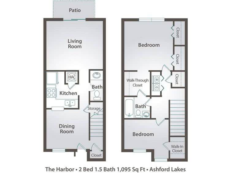 2D | The Harbor contains 2 bedrooms and 1.5 bathrooms in 1095 square feet of living space.
