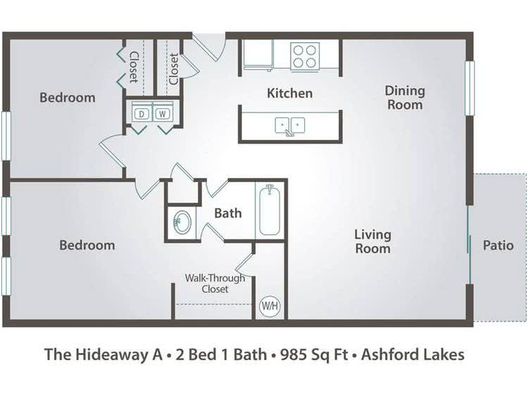 2D | The Hideaway A contains 2 bedrooms and 1 bathrooms in 985 square feet of living space.