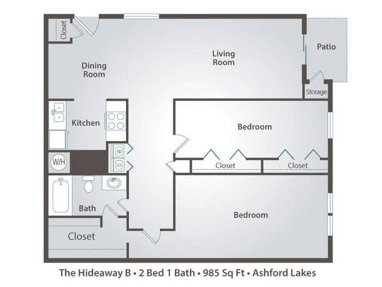 2D | The Hideaway B contains 2 bedrooms and 1 bathrooms in 985 square feet of living space.